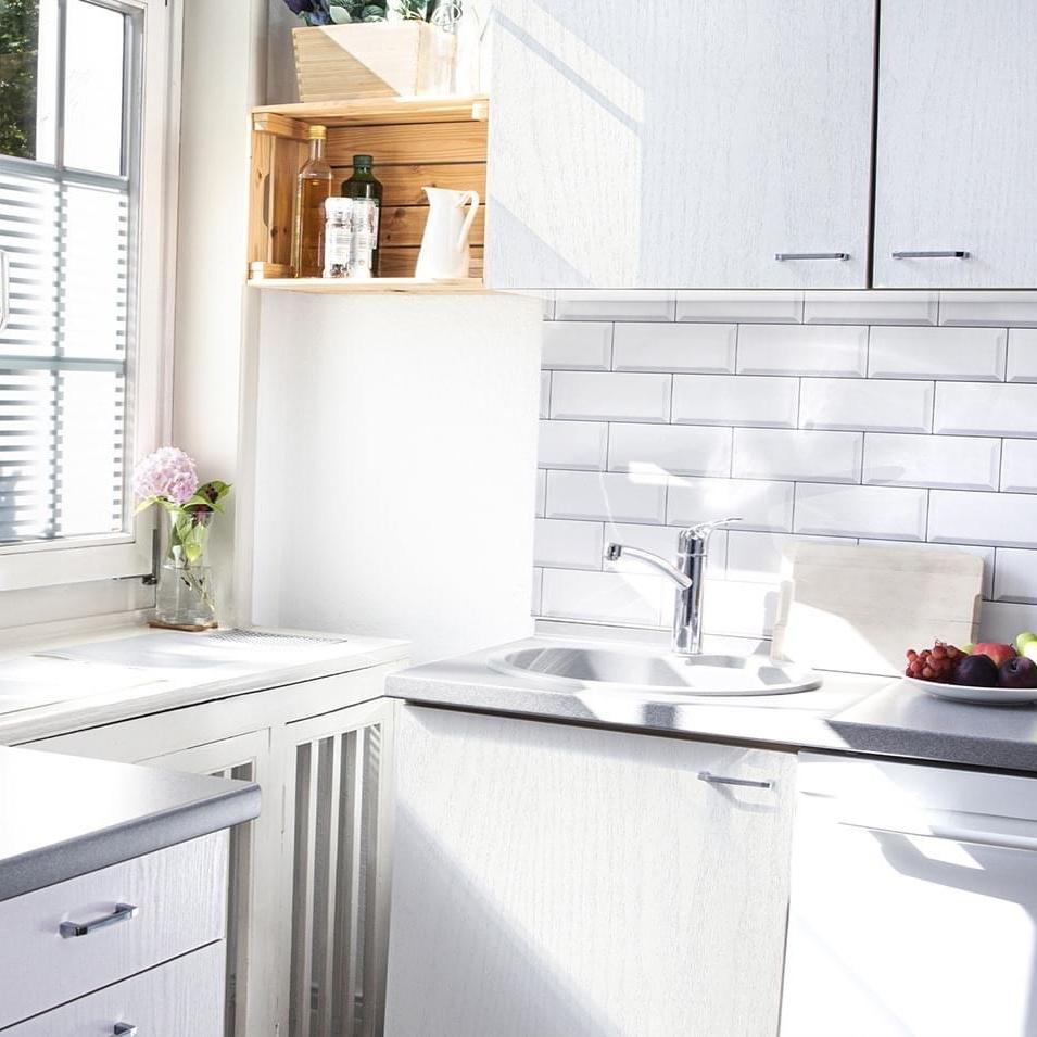 subway tile white 3d waterproof wallpaper for kitchen